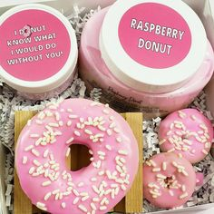 """""""Donut you just love a pun? We sure do! Check out our new donut inspired gift sets! Perfect to make mom smile."""" Mothers Day Spa, Funny Mothers Day Gifts, Mothers Day Gifts From Daughter, Mother Day Gifts, Funny Gifts For Her, Gifts For Mom, Cheer Up Gifts, Bridesmaid Proposal Box, Spa Gifts"""