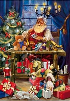 Santa's Workshop - 1000 Piece Puzzle by Ceaco Old Time Christmas, Christmas Scenes, Old Fashioned Christmas, Noel Christmas, Father Christmas, Vintage Christmas Cards, Christmas Pictures, Winter Christmas, Christmas Gifts