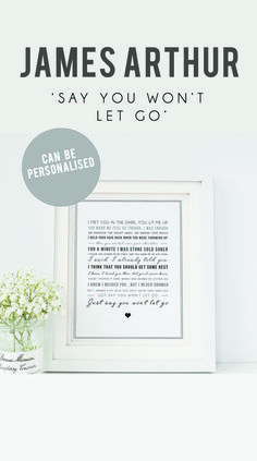 Botanical wedding invitation suite floral wedding invite green james arthur say you wont let go song lyrics print typographic wall art quote song lyric print music gift can be personalised stopboris Images