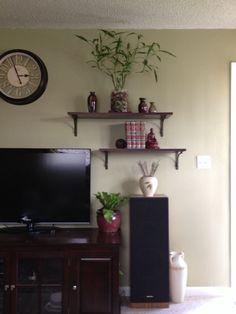 Shelves in living room.