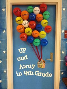 I wonder how long the balloons last on this super cool door idea featured in the Back to School Bulletin Board Ideas Roundup on OneCreativeMommy.com!