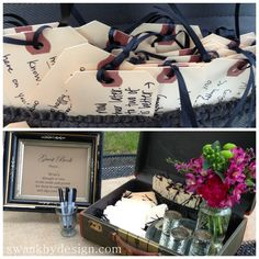 For the guest book, we asked all of the wedding guests to write a message to the bride and groom on luggage tags, which we staged with a vintage suitcase and they tucked into the luggage pocket. It was a big hit! | Wedding by SWANK at Weathervane Farm in Hamilton, NY