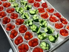 TIP: Arrange veggie or fruit cups to look like a rainbow in the serving line. (From Conners Emerson Cafe, Bar Harbor, Maine.) #fruitcups #pickyeaters #kids #veggies