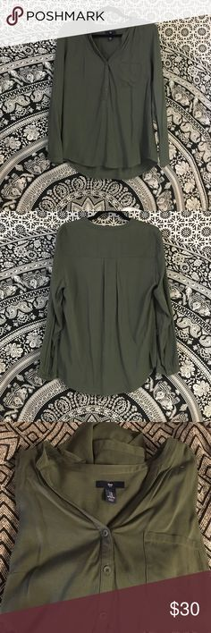 Army Green Blouse Brand new army green Blouse, in between and cotton material and a silk. GAP Tops Blouses