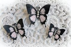 """All about Choices!! All of my Butterflies come with your choice of Antenna Color and these Soft Pink Glitter Glass Butterflies come with your choice of either Pearl Body Accents or Crystal Body Accents~  Create your own """"beautiful with an edge"""" style here~ http://www.etsy.com/shop/Reneabouquets"""
