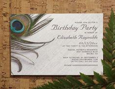 Elegant Peacock Feathers Birthday Invitations   Surprise Birthday Party Invites   Printable, Digital, PDF, DIY Template or Printed, Cards