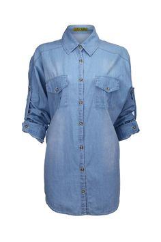 Loose Batwing Sleeve Blue Denim Shirt