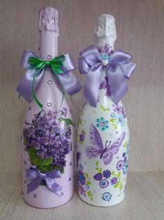 Wrapped Wine Bottles, Wine Bottle Vases, Painted Wine Bottles, Hand Painted Wine Glasses, Lighted Wine Bottles, Diy Bottle, Wine Bottle Crafts, Perfume Bottles, Vase Crafts