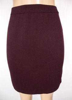 ST JOHN COLLECTION By Marie Gray Skirt Size 4 S Burgundy Knit Wear To Work #StJohn #StretchKnit