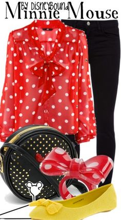 DisneyBound is meant to be inspiration for you to pull together your own outfits which work for your body and wallet whether from your closet or local mall. Robes Disney, Disney Dresses, Disney Outfits, Cosplay Casual, Disneybound Outfits, Disney Inspired Fashion, Disney Fashion, Polka Dot Blouse, Polka Dots