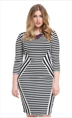 Mixed Striped Dress | ELOQUII.com