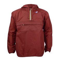 Mens K-Way Leon Classic Dark Red Half Zip Waterproof Jacket