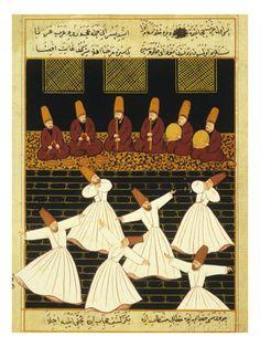 Konya Whirling Dervishes Ritual, 16th Century, Ottoman Miniature of the Anatolian School Lámina giclée en AllPosters.es