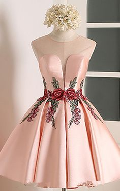 Knee Length A Line V Neckline Cap Sleeve Ruched Appliques Pink Satin Short Homecoming Dress