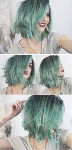 Metallic Hair Color – The Most Magnetic Trend Ever! – Page 3 – Style O Che… Metallic Hair Color – The Most Magnetic Trend Ever! – Page 3 – Style O Check Metallic Hair Color, Green Hair Colors, Mint Hair Color, Mint Green Hair, Short Green Hair, Pastel Hair Colors, Gray Green, Green Nails, Short Hair Colour