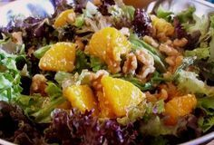 Orange, Walnut, Gorgonzola and Mixed Greens Salad with Fresh Citrus Vinaigrette Recipe - From Recipe Box Cafe (Mix Greens Dried Cranberries) Orange Recipes, New Recipes, Salad Recipes, Cooking Recipes, Healthy Recipes, Favorite Recipes, Healthy Salads, Healthy Food, Recipies