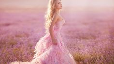 Model Pink Dress Meadow Lavender