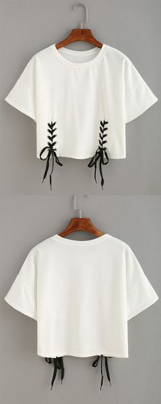 nice Double Lace-Up Hem Crop T-shirt...