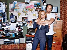 David Duchovny and Gillian Anderson on the set of Mulder's home.  Photo credit: Eric Ray Davidson for EW