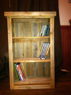 "Rustic bookcase -hand crafted wooden 30""x25""x7.75""deep DVD/Bookcase Rustic Cabinet on Etsy, $90.00"