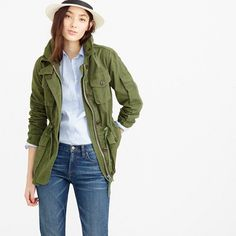Our men's field mechanic jacket, sized down and slightly shrunken so it's just as flattering on a woman