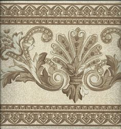 Beige Crown Molding Wallpaper Border Victorian Vintage