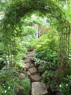 Archway and path using inexpensive garden arches...