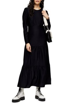 Looking for Topshop Long Sleeve Tiered Dress ? Check out our picks for the Topshop Long Sleeve Tiered Dress from the popular stores - all in one. Black Long Sleeve Dress, Black Midi Dress, Maternity Nursing Dress, Tiered Dress, Nordstrom Dresses, Dresses Online, Casual Dresses, Topshop, Dresses With Sleeves