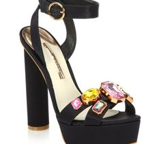 f7d7a71a9d8 Love this  Amanda Bejeweled Satin Platform Sandals  Lyst Black Platform  Sandals