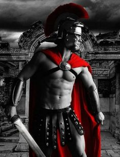 Roman gladiator - red cape - colour splash red, if I had to live in the past this is where I would want to be. Splash Photography, Color Photography, Black And White Photography, Black White Red, Black White Photos, Color Splash Photo, Photo Colour, Queen Art, Simply Red