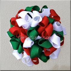 Items similar to Red Green & White Kurly Pom Pom Hair Bow, Christmas Hair Bow, Puff Bow on Etsy Thanksgiving Hair Bows, Christmas Hair Bows, Red Christmas, Christmas Crafts, Making Hair Bows, Diy Hair Bows, Bow Hair Clips, Bow Making, Bow Clip