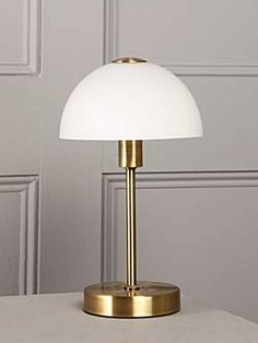 Linea Antique brass Quincey touch table lamp - House of Fraser Touch Table Lamps, Brass Table Lamps, Brass Lamp, Contemporary Table Lamps, Modern Table, Contemporary Interior, Elegant Dining Room, Dar Lighting, House Of Fraser