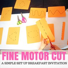 Simple invitation to learn cutting activity for toddlers and preschoolers