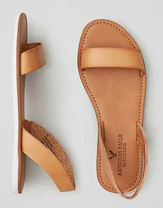Sandalias con tiras dobles AEO , Natural | American Eagle Outfitters