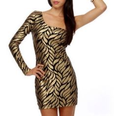 Gold and black sequin dress Turn heads with this super fitted off the shoulder sequins mini dress. Gold & black design. Super chic. Dresses Mini