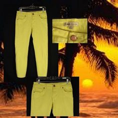 CAbi Jeans - Yellow, cropped, size 4. Low rise. Get them... and getaway!
