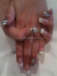 White tips with freehand nail art