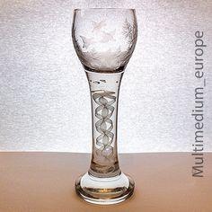 Weinglas Fadenglas pokal Siegfried Haertel, Josephinenhütte um 1915 Luftblasen