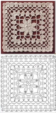 24 crochet square patterns and graphics Granny Square Crochet Pattern, Crochet Diagram, Crochet Chart, Crochet Basics, Crochet Squares, Filet Crochet, Crochet Motif, Crochet Designs, Crochet Doilies