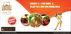 Enjoy 1 + 1 on IMFL & flat 15% off on food.