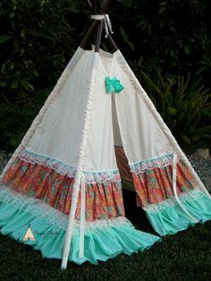 PAISLEY  ready to ship teepee photo prop by SugarShacksTeepee, $170.00 shabby chic teepee, ruffles and lace