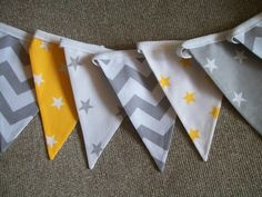 Beautiful Cotton Double Sided Bunting - Grey and Yellow Stars and Chevrons… Baby Bedroom, Baby Boy Rooms, Kids Bedroom, Bedroom Ideas, Nursery Grey, Yellow Nursery, Nursery Bunting, Star Nursery, Yellow Chevron