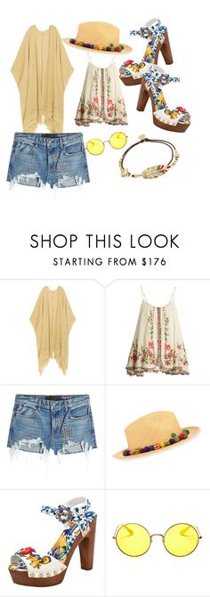 """Coachella baby"" by ameliayanita on Polyvore featuring Caravana, Mes Demoiselles..., T By Alexander Wang, Valdez, Dolce&Gabbana, Ray-Ban and Gas Bijoux"