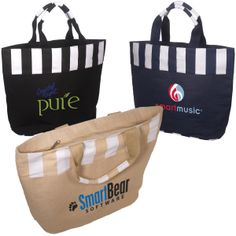 LT-3381 Festival Tote, an Eco-Responsible™ product. Jute and cotton tote with internal lamination. Zippered closure with cotton handles.