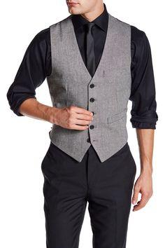 V-Neck Herringbone Vest