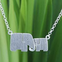 Sterling silver pendant necklace, 'Family Love'