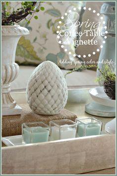 SPRING COFFEE TABLE VIGNETTE- adding spring colors and seasonal elements to decor-stonegableblog.com