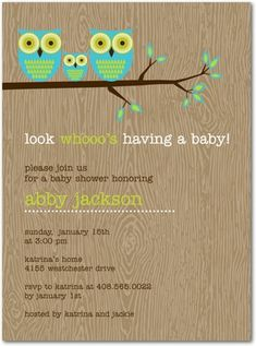 Very cute baby shower invites~ {especially for someone decorating the nursery with owls}