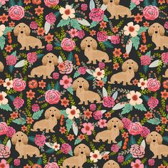 Brown Floral Doxie Dog Fabric Floral Doxie Dachshunds