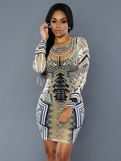 cf0f25e3e4 Women Bodycon Dress Long Sleeve Exotic Print Going Out Pencil Dress -  Milanoo.com Sexy